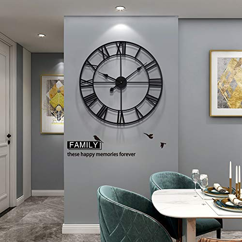 YIJIDECOR Large Wall Clock for Living Room Decor,Roman Numeral Farmhouse Round Wall Clocks Silent for Office Classroom Bedroom Indoor Wall Decoration,23.62
