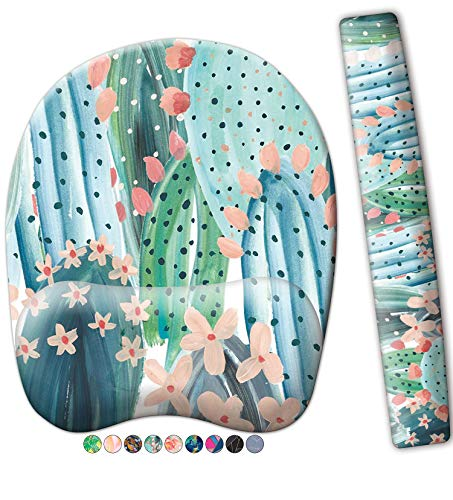 French Koko Mouse Pad with Wrist Support and Keyboard Wrist Support, Non Slip Memory Foam Comfortable Pretty Mousepad Gel Desktop Laptop Mac School Home Office Desk Cute Cactus