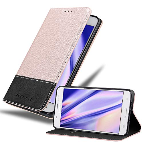 Cadorabo Hülle für Samsung Galaxy J5 2016 (6) - Hülle in Rose Gold SCHWARZ – Handyhülle mit Standfunktion und Kartenfach aus Einer Kunstlederkombi - Case Cover Schutzhülle Etui Tasche Book