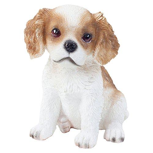 Realistico seduto Cavalier King Charles spaniel Dog giardino ornamento 15cm
