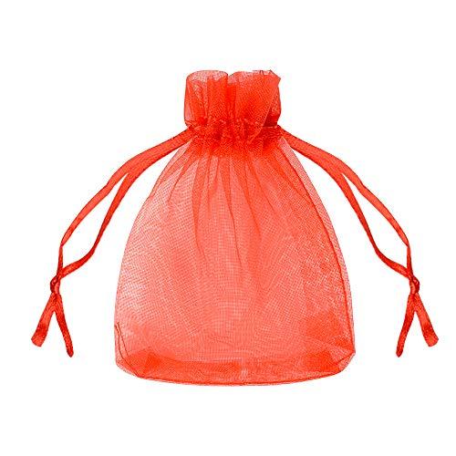 FLOFIA 100 Bolsas Bolsitas de Organza Rojas de Boda 7x9cm Pequeñas Bolsas Regalo Organza Tul para Joyería Joyas Caramelo Dulces Recuerdo Favores Detalles de Boda Arroz