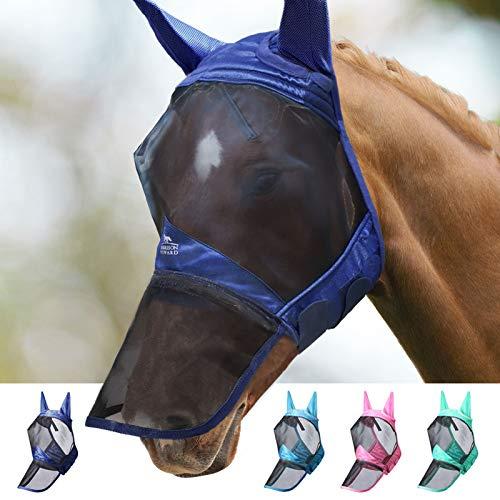 Harrison Howard CareMaster Pro Luminous Maschera da mosca del cavallo Naso lungo con le orecchie Protezione UV per cavallo-Marina Militare (L)