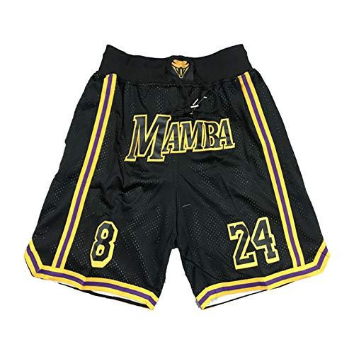 FGRGH Kòbè Bryáńt 8/24 # Pantalones cortos deportivos de baloncesto, 2021 Nuevo Lákèr Negro Mamba Hombres Retro Entrenamiento Deportes Pantalones cortos de playa sueltos con bolsillos A-S