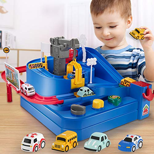 Baby Home Race Tracks for Boys Car Adventure Toys for 3 4 5 6 7 8 Year Old Boys Girls, City Rescue Preschool Educational Toy Vehicle Puzzle Car Track Playsets for Toddlers, Kids Toys Gifts for Kids