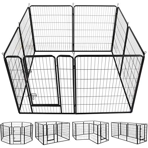 Yaheetech 40-Inch 8 Panel Heavy Duty Pets Playpen Dog Exercise Pen Cat Fence with Door Puppy Rabbits Portable Play Pen,Outdoor/Indoor,Black