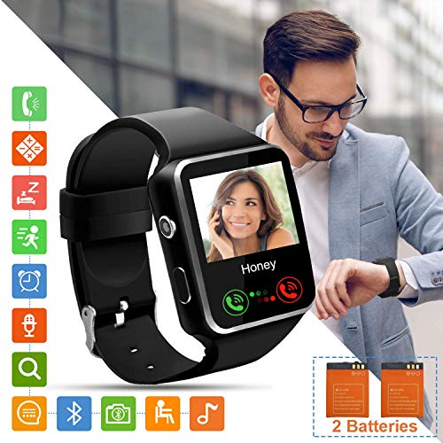 Smartwatch SN07 Fitness Armband Fitness Uhr mit Touchscreen SIM Karte Slot Schrittzähler Schlaftracker Fitness Tracker Smart Watch für Samsung Huawei Xiaomi Android ios Damen Herren Kinder (Schwarz)