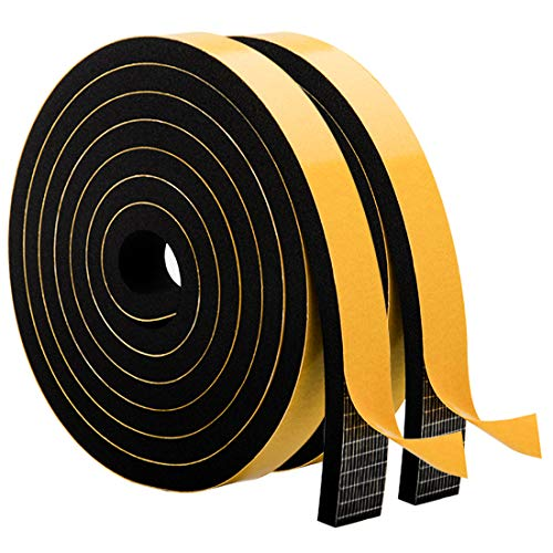High Density Adhesive Foam Tape-2 Rolls, 3/4 Inch Wide X 5/16 Inch Thick High Density Soundproof Insulation Closed Cell Foam Seal Weather Stripping, Total 13 Feet Long (2 X 6.5 Ft Each)