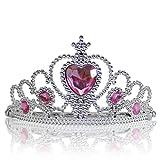 Katara 1682 - Diadema de Princesa Accesorio de Disfraz Corona de Cuentos de Hadas - Plateada con Cristales, Rosa Claro