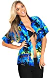 LA LEELA Women's Hawaiian Shirt Beach Aloha Swim Shirt for Women XL Blue_W929