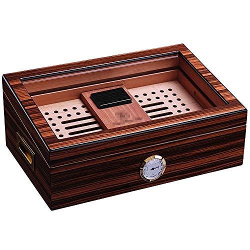 FxsD Zigarrenschachtel, gemaltes Klavier Transparente Glasfenster Strukturiert, Profi-Insect-Proof Aubergine, Zedernholz, Zigarre Befeuchter, Mit Hygrometer und Luftbefeuchter ## (Color : A)