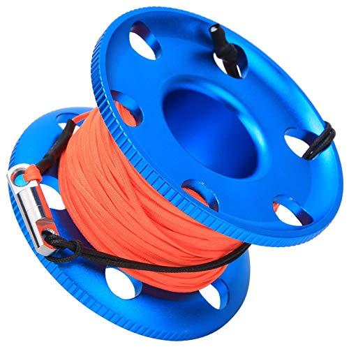 XiangXin Blaue Fingerspulenrolle, Korrosionsbeständigkeit Leichter Kompakt mit fluoreszierender orangefarbener Tauch-Fingerspule für Unterwasser-Schnorchel-Tauchzubehör(50m)