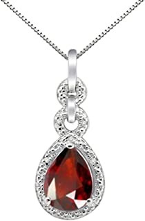 1.80Ct Pear Shaped Garnet and Diamond Pendant in 10K White Gold
