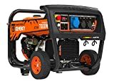 Generador de corriente de gasolina de 7 kVA 4 tiempos, 7000 W, línea profesional SGB-PRO EURO5 SVR 230 V manual + arranque eléctrico 7 kW