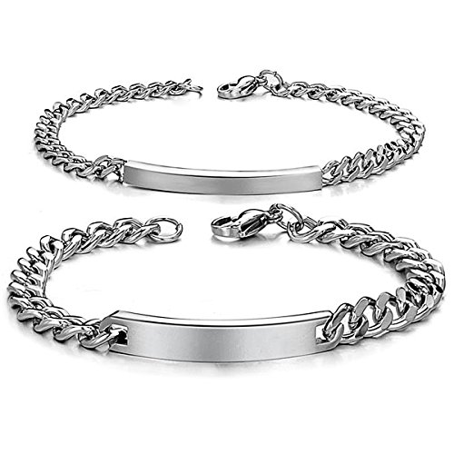 JewelryWe Schmuck 2pcs Herren Damen Armband, Lieben Freundschaftsarmband, Glänzend Poliert, Edelstahl, Silber, kostenlos Gravur