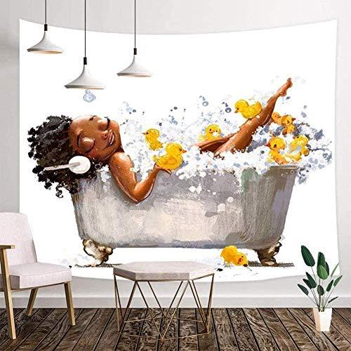 ZSXH Tapisserie Afro Frau mit Kopfhörern und Entlein Bäder in Badewanne Wandteppich Wandbehang Wanddekoration Stoff-78x59inch