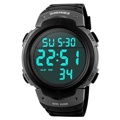 Relógio masculino digital esportivo com tela de LED grande à prova d'água e à prova d'água, casual, luminoso, alarme de cronômetro, relógio militar simples, Cinza