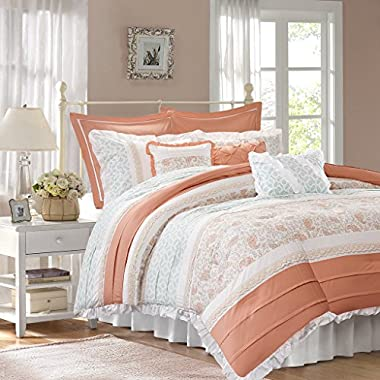 Madison Park Dawn King Size Bed Comforter Set Bed In A Bag - Coral, Floral Shabby Chic – 9 Pieces Bedding Sets – 100% Cotton Percale Bedroom Comforters