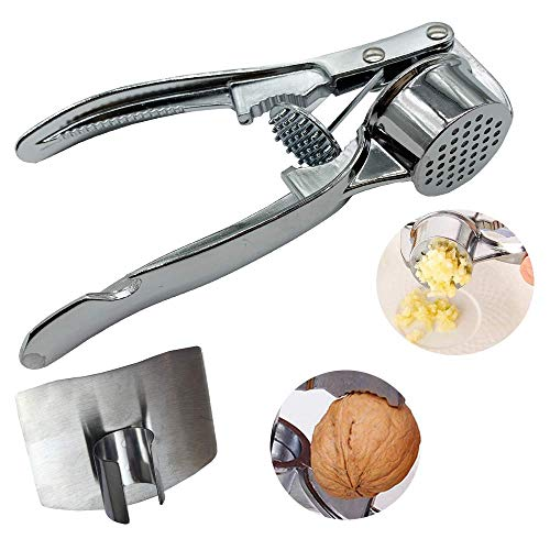The sturdy design of garlic press, garlic press can extract more garlic sauce for each clove. Free stainless steel finger guard (large, round)