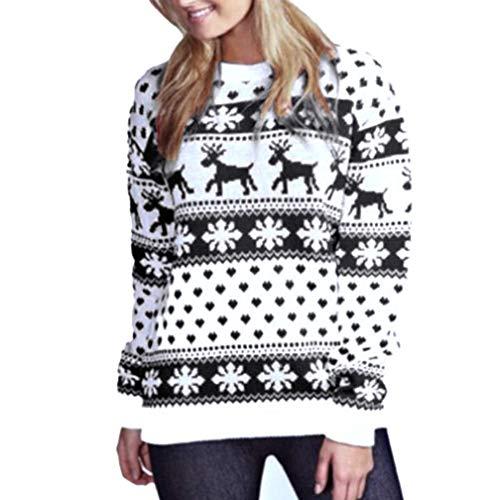 KEERADS Femmes Tops De Noël Chandail T-Shirt De Noël Floral Flocon De Neige Élan Imprimer Blouse À Manches Longues Top Sweat(XL,Noir)