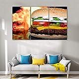 RHBNVR Leinwand Gemälde 3 stücke Leinwand Kunst Burger Fast Food Shop Wandkunst Shop Poster Bild Für Wohnzimmer Wohnkultur(Rahmenlos)