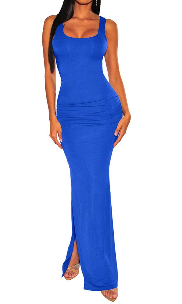 Available at Amazon: Enggras Women's Ruched Tank Cleavage Bodycon Maxi Dress High Split Sleeveless Long Owl Sundress Party Evening Dress