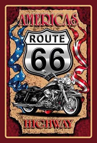 Route 66 America Highway Chopper Motorrad Bike Blechschild Metallschild Schild gewölbt Metal Tin Sign 20 x 30 cm