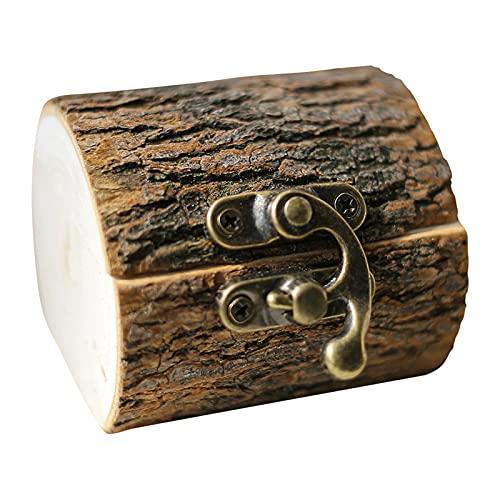 lefeindgdi Caja de anillo de madera vintage, creativa hecha a mano, soporte de almacenamiento de joyas rústico, regalos de boda personalizados para hombres y mujeres