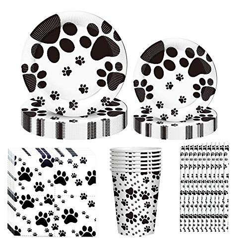Dog Paw Prints Party Supplies, 60PCS Dog Disposable Tableware with Dog Paw Prints Plates Cups Napkins for Dog Birthday Baby Shower Party Serves 10