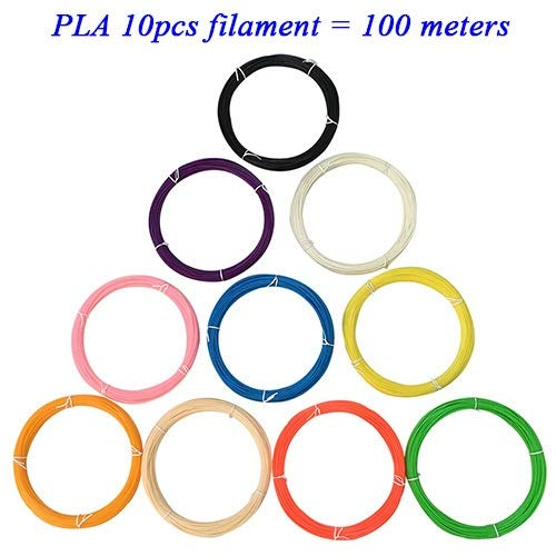 DZF-BGS 3D Pen Filament thread 1.75mm ABS/PLA 20 for 3D printing pens wire rod 3D linear (Color : 10pcs PLA filaments)