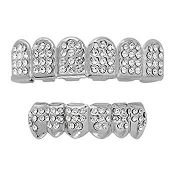 18K Silver Plated Grillz Caps Top & Bottom Set for New Custom Fit Hip Hop Style + 2 Extra Molding Bars