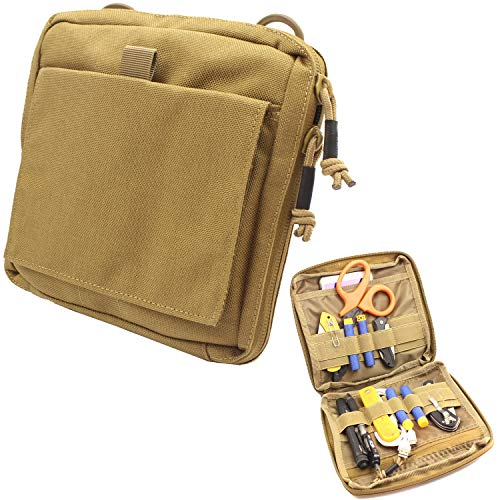 Itoofa8 Molle Admin Pouch Tactical EDC Tool Pouch Military Modular Utility Organizer Bag (TAN)
