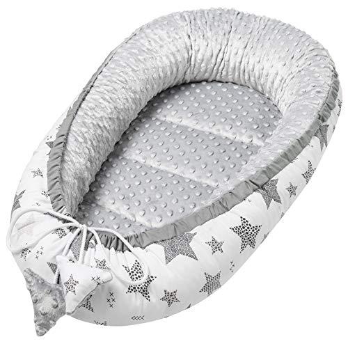 Solvera_Ltd Babynest 2seitig Kokon MINKY+100% Baumwolle Babybett Nestchen für Neugeborene Kuschelnest Weiches und sicheres Baby-Reisebett (50x90) (Minky Grau)