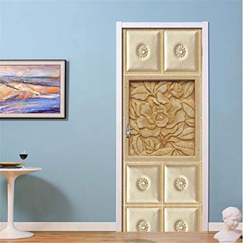 Geprägte Plaid Blumen Wandbild 3D Tür Aufkleber PVC selbstklebende Aufkleber Tapete Für Wohnzimmer Schlafzimmer Tür Wohnkultur Aufkleber