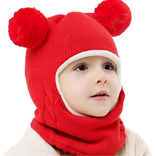 Toddler Winter Hat Scarfs with Hood - Cute Baby Kids Warm Fleece Knitted Beanie Earflap Skully Caps for Girls 1-4T(Red)