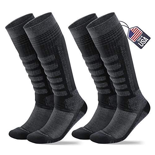 Samsox Merino Wool Ski Socks Unisex, 2 Pairs, Black S/M (Men 6-9.5 / Women 7-11)