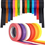 18 rollos de cinta fina de 1/4 para pizarra blanca, cinta de rayas finas, cinta de borrado en seco, lneas de cinta de cuadrcula para bricolaje, arte, codificacin y etiquetado, 12 colores