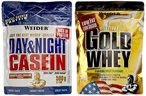 Weider Gold Whey und Casein 2er Mix Pack, Banane-Split & Schoko-Sahne, 2 x 500 g (1 x 1 kg)