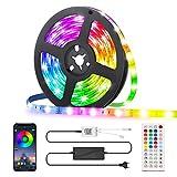 LED Strip 5M, GLIME RGB LED Streifen, Led Bänder via App mit Musik, 44 Tasten Fernbedienung, 16 Farben Dimmbar Timing-Funktion, Lichtband Full Kit für Küche, Party, Bar, Schlafzimmer