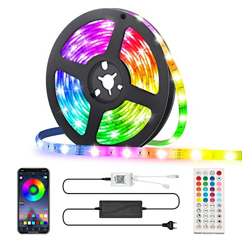 LED Strip 5M, GLIME RGB LED Streifen, Led Bänder via App mit Musik, 44 Tasten Fernbedienung, 16 Farben Dimmbar Timing-Funktion, Lichtband Full Kit für Küche, Party, Bar, Schlafzimmer