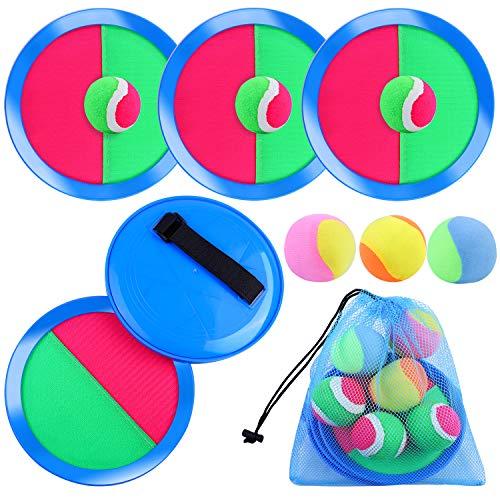 Aneco, set di paddle lancio e cattura palla giocattoli autoattaccanti paddle gioco per sport, spiaggia con custodia, 6 pagaie e 6 palle