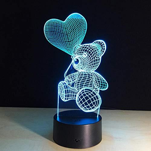 Ilusión de luz de noche 3d 7 variaciones de color Decoración de la habitación, Lámpara de mesa de noche Regalos para niños, niñas, jóvenes, adultos(Oso amor globo)
