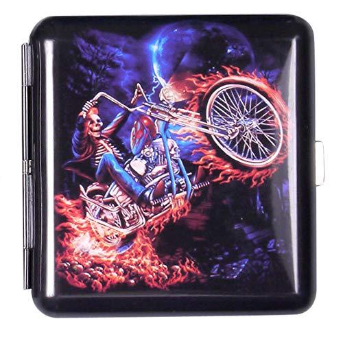 Zigarettenetui Adler & Motorrad farbig Metall mit Gummiband für 20 Zigaretten (Schwarz brennendes Motorrad)