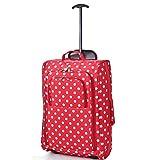 Cabin Bag Trolley mit Rädern Handgepäck Flight Bags Reise-Koffer für Easyjet, Ryanair, British Airways, Virgin, FlyBe, Jet 2 und viele Andere Airlines (Red Polka)