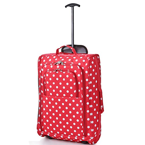 Cabin Bag Trolley mit Rädern Handgepäck Flight Bags Reise-Koffer für Easyjet, Ryanair, British Airways, Virgin, FlyBe, Jet 2 und viele Andere Airlines (Red Polka)