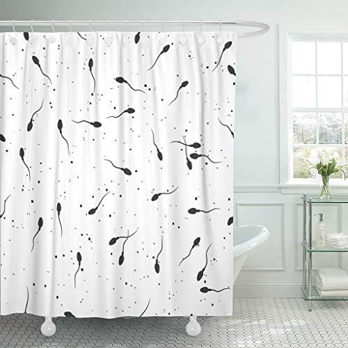 Emvency Fabric Shower Curtain with Hooks Anatomy Sperm Microscope View Spermatozoa in Semen Sex Biology Birth Cell Conception 60'X72' Decorative Bathroom
