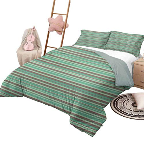 DayDayFun Quilt Set for Kids Retro Custom Bedding Machine Washable Classical Striped Pattern with Thick and Thin Lines Repetitive Geometric Queen Size Red Seafoam Sage Green