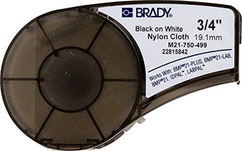 Brady M21-750-499 Etikettenklebeband, Nylon, Schwarz auf Weiß, kompatibel mit BMP21-PLUS, ID PAL und LABPAL Druckern, Länge 40,6 cm, Breite 1,9 cm