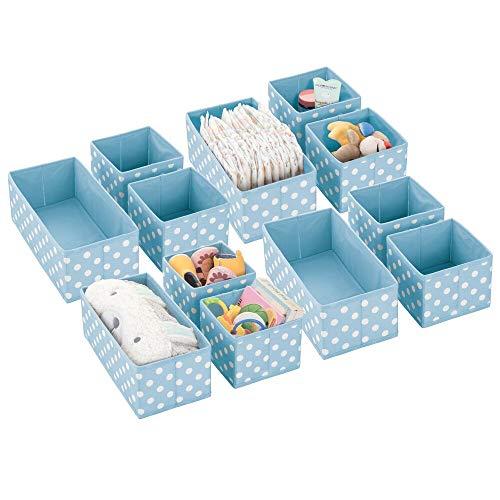 mDesign Juego de 12 Cajas de almacenaje para Cuarto Infantil y baño – Cestas organizadoras Decorativas y Abiertas – 12 organizadores de armarios de Fibra sintética en Dos tamaños – Azul Claro/Blanco