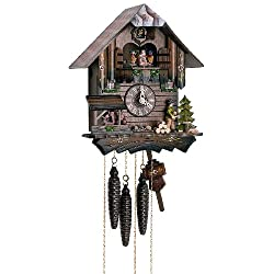 12 Chalet Cuckoo Clock with Wood Chopper and Children