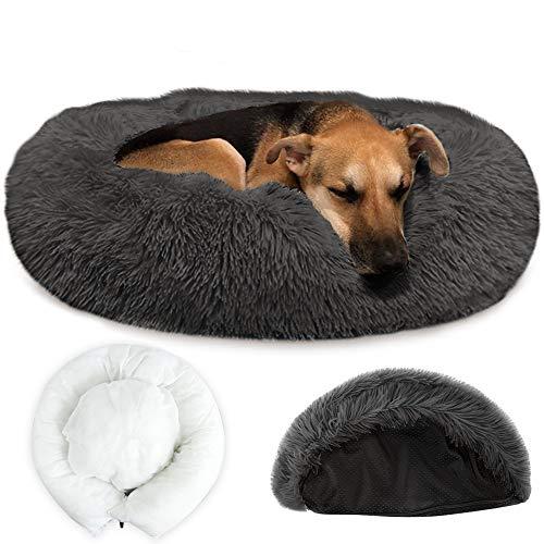 Nasjac Pet Beruhigendes Bett, warmes Donut-Hundebett mit Abnehmbarer Abdeckung Weiches Plüsch-Hundekatzenkissen mit gemütlichem Schwamm, Rutschfester Boden (80 cm Dark Gray)
